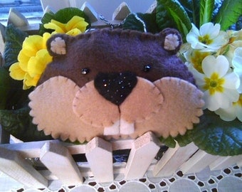 Groundhog Felt Ornament