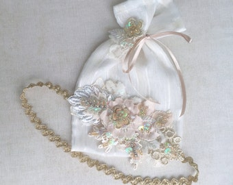 Blush/Gold beaded lace headband