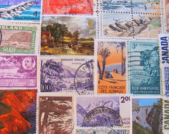 Walk With Nature 50 Breathtaking Landscapes Vintage Postage Stamps Spring Summer Winter Fall Nature Camping Outdoors US Worldwide Philately