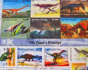 Dig Deeper 50 Dinosaurs Premium Vintage Modern Postage Stamps TRex Natural History Prehistoric Archaeology Mammoth Monster Fossil Philately