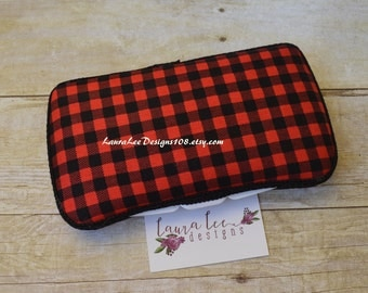 READY TO SHIP, Red and Black Plaid, Travel Wipe Case, Personalized Case, Baby Wipe Case, Diaper Wipe Case, Wipe Holder, Baby Shower Gift