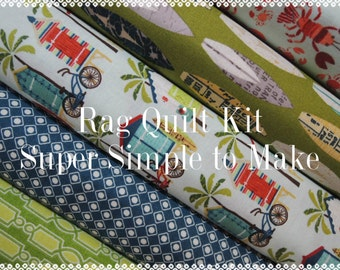 Offshore, Kit  3 Rag Quilt Kit, Easy to Make, Offshore Fabrics, Personalized