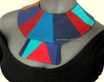 Handmade fabric neckwear, One of a Kind Tribal Patchwork Collar, Unique statement piece, Striking Ethnic Bib necklace, One size