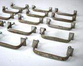 Vintage Drawer Pulls with Screws / Cabinet Pulls / Drawer Hardware / Brass Drawer Pulls / Set of 15 Drawer Handles / Worn and Aged / DIY