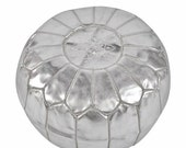 Summer Sale 20% off Silver Moroccan Leather Pouffe Pouf