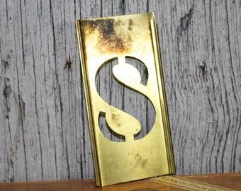 Vintage Brass Stencil, Number 8, No. 8 Stencil