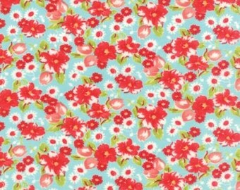 Little Ruby - Quilting Fabric by Bonnie and Camille from Moda - Aqua Floral