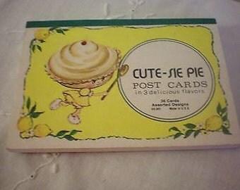 Vintage 24 Anthropomorphic Cute-sie PIE Lemon Strawberry Chocolate Post Cards 3 Designs 24 of 36 In Original Pad Made in USA