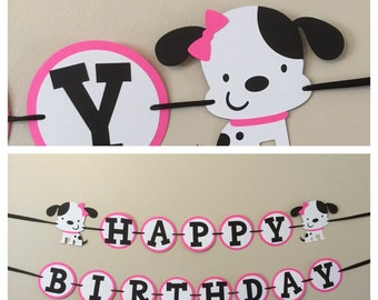 Pink Puppy dog Happy Birthday Banner  puppy dog pink bow birthday party decorations