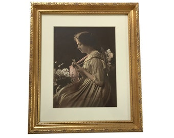 Vintage Framed Tinted Photograph Print Woman with Bonnet