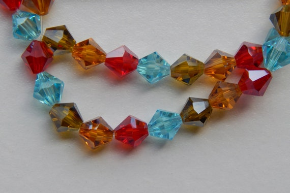 One Strand of Acrylic Jewelry Beads - 6mm Faceted Bicone Shape, Fiesta Color Mix, Sparkle Finish, 1mm Center Hole for Stringing, 26 Pieces