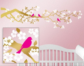 84 inch Gold Baby Decor Tree Decal - Woodland Nursery Wall Decor Cherry Blossom Branch Gold Vinyl Wall Decal Pink Birds White Flowers
