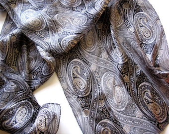 Long Silky Scarf Echo paisley black