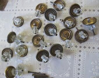 Vintage Glass Knobs 18 brass collars screws complete