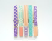Colorful Washi Tape Clothes Pins, Party Supplies, Teal and Pink Washi Decorations, Set of 5 Clothes Pins