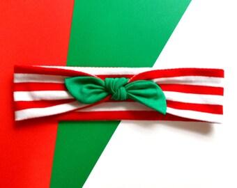 Christmas Holiday Bow Headband Red Green and White Christmas Headband Accessory Baby Christmas Headband