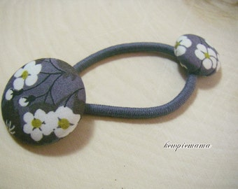 Handmade baby, toddler, girls covered button Ponytail holder(liberty of London)- gray