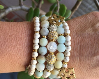 Frosted Amazonite Stetchy Beaded Set with gold plated crosses.