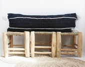 Moroccan POM POM Long Pillow cover - Cotton black an white stripes