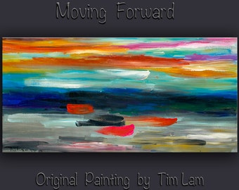 """Original Art huge Impasto Texture modern acrylic painting  Abstract Painting on gallery wrap linen canvas by Tim Lam 48""""  x 24"""""""