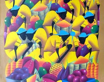 "Haitian Art, Haitian Painting, Canvas Art, Haitian Market Women, Hand Painted Canvas Painting, Ethnic Art, Original Art of Haiti - 20"" x 24"""