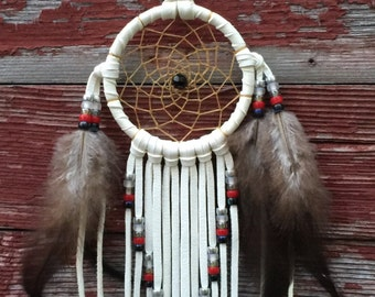 """3"""" White Dreamcatcher with Silver, Grey, White, Black and Red Beads, Fringe, Feathers, Made to Order"""