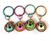 Instagram  Keychain, Birch Slice Keychain,Instagram Woodslice Keychain,Instagram,Cute Keychains,Handmade Keychain,Cool Keychains,Tiny Art