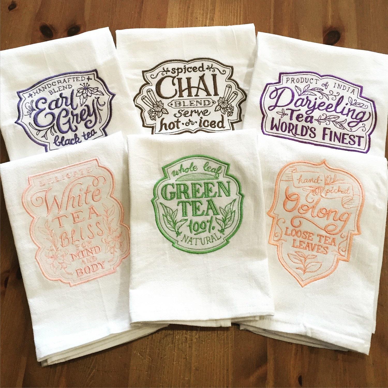 Tea Lovers Embroidered Flour Sack Dish Towel