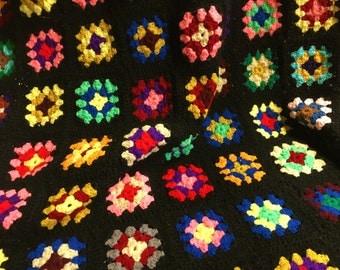 Vintage Afghan Granny Square Blanket Outstanding