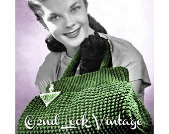 Vintage Crochet Pattern 1940s Crocheted Doctor Bag Purse Tote Handbag Digital Download PDF