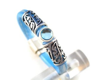 Metallic Baby Blue Leather Bracelet with Blue Crystal Slider and Silver Tone Spacers and Magnetic Clasp