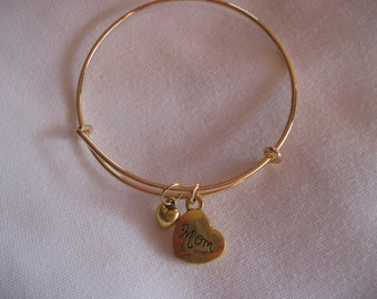 Mother with Small Heart Adjustable Gold Tone Bangle Bracelet