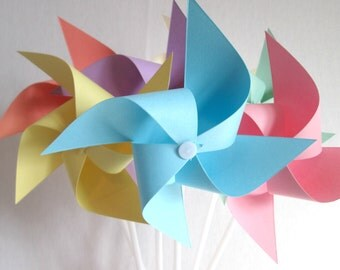 Paper Pinwheels Pastel Favors Birthday Favors Pastel Pinwheels Pinwheels Baby Shower Table Centerpiece Photo Prop Birthday Decorations