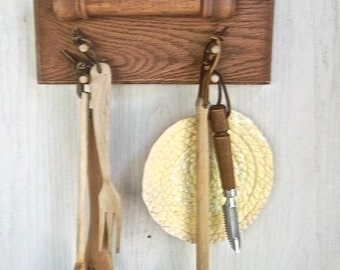 Vintage Redesign Reimagined Farmhouse Folk Kitchen Utensil Caddy Wallhanging One of a Kind Recipe Note Wallhanging Wood Redesign Kitchen