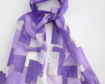 Purple geometric shapes Hand painted  Silk scarf.  Purple geometric design scarf