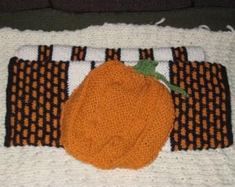 Halloween Pumpkin Hand Towel and Washcloth/Dishcloth Set