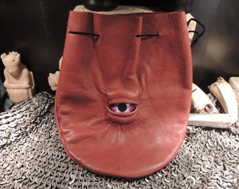 Large  Brown Leather Bag with Purple Eye---New Style---