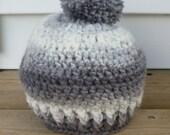 Baby Hat, Crochet Infant Hat with Pom Pom