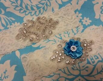 ivory Wedding Garter set  , stretch lace garter, crystal, rhinestone, blue flower,