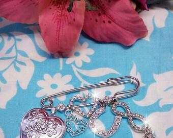 Brides Wedding Keepsake Pin, Bouquet charm, locket, infinity, Something Blue Charm Bridal Pin, lucky charm, heart bouquet charm