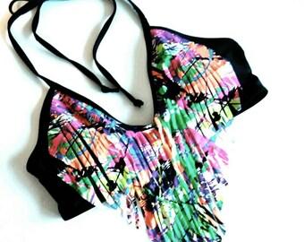 Neon Fringe Black Halter Bikini Top