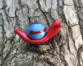 Fairy Garden Red Snail Terrarium Vintage Blue and Red Swirl Marble