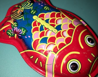 vintage tin small koi fish rattle made in Japan excellent condition