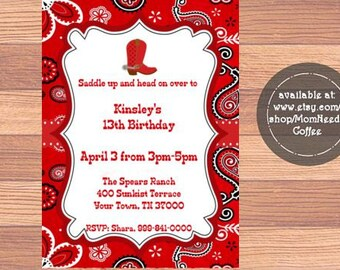 Bandana Invitation, Bandana Birthday Invitation, Bandana Birthday party, Bandana invite, Bandana invites, bandana invitations
