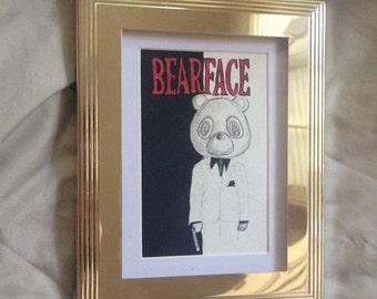Scarface/Kanye Bear Mashup painting