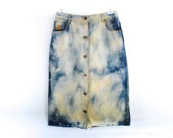 70's 80's Dyed Denim High Waist A Line Skirt size -