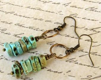 Turquoise stacked earrings, Turquoise Dangle earrings, African Earrings, Boho / ethnic earrings