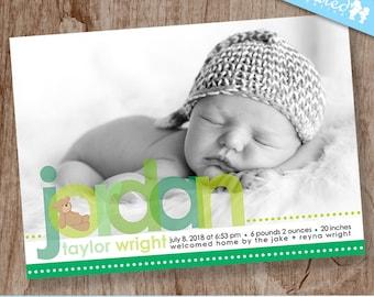Green Baby Birth Announcement, Teddy Bear Baby Announcement, Boy Girl Birth Photo Announcement, Neutral - DiY Printable    Beary Baby Green