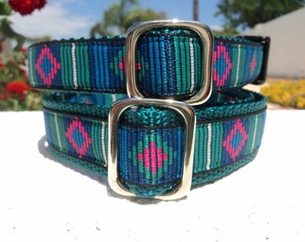 "Tribal Stripe Dog Collar 3/4"" or 1"" width Quick Release or Martingale collar adjustable for small to large dog"