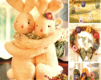 Hugging Bunnies Sewing Pattern, Easter Wreath, Embroidered Eggs, Chick Lamb and Rabbit Ornaments, Crafts Michelle Hains - McCalls 2656 UNCUT